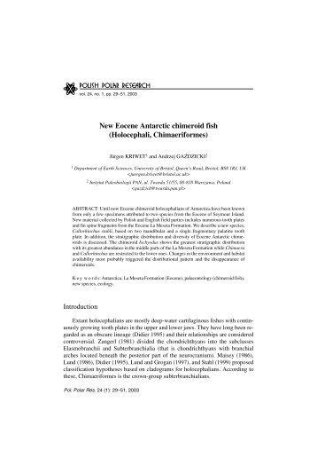 New Eocene Antarctic chimeroid fish - Polish Polar Research