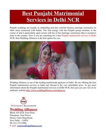 Best Punjabi Matrimonial Services in Delhi NCR