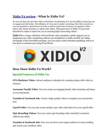 Xidio V2 review demo and premium bonus