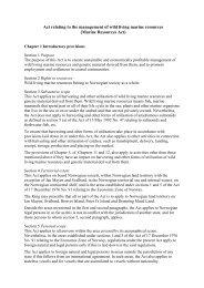Forslag til lov om forvaltning av viltlevande marine ressursar ...