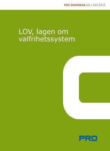 LOV, lagen om valfrihetssystem - PRO