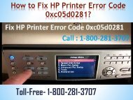 How to Fix HP Printer Error Code 0xc05d0281|Dial 8002813707