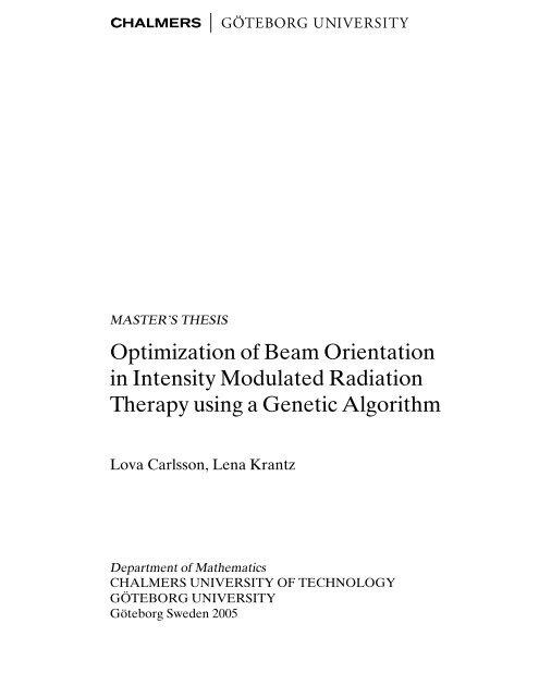 Optimization of Beam Orientation in Intensity Modulated Radiation ...