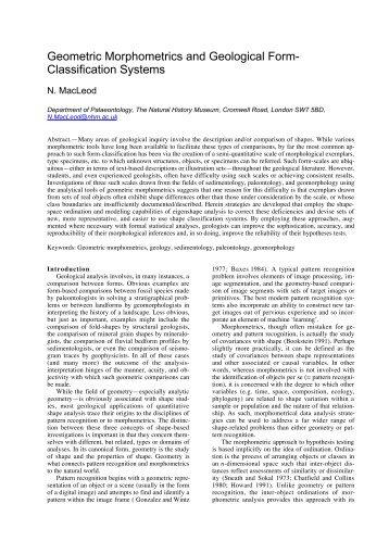 Geometric Morphometrics and Geological Form - Natural History ...