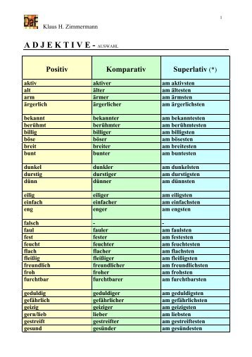 Adjektive, Klaus H. Zimmermann