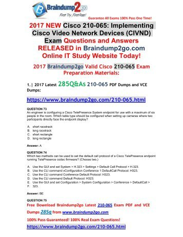 [2017-Aug-New]210-065 PDF and VCE Dumps 285Q&As Free Share(Q73-Q86)