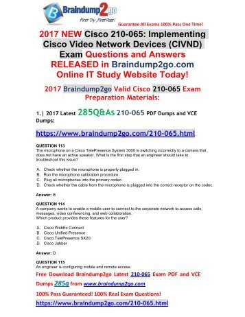 [2017-Aug-New]210-065 VCE and 210-065 PDF Dumps 285Q&As Free Share(Q113-Q126)