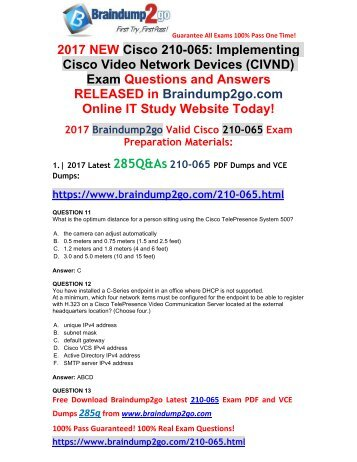 [2017-Aug-New]210-065 VCE and PDF Dumps 285Q&As Free Share(Q11-Q21)