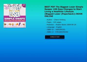 BEST PDF The Biggest Loser Simple Swaps 100 Easy Changes to Start Living a Healthier Lifestyle