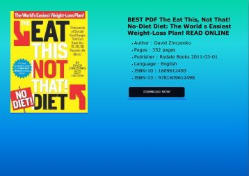 BEST PDF The Eat This Not That NoDiet Diet The World s Easiest WeightLoss Plan READ ONLINE