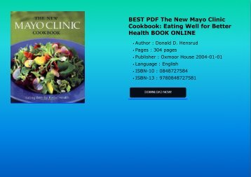 BEST PDF The New Mayo Clinic Cookbook Eating Well for Better Health BOOK ONLINE