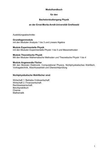 Modulhandbuch B.Sc. Physik - Ernst-Moritz-Arndt-Universität ...