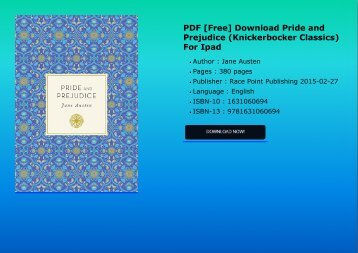 PDF [Free] Download  Pride and Prejudice (Knickerbocker Classics) For Ipad
