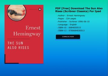 PDF [Free] Download  The Sun Also Rises (Scribner Classics) For Ipad