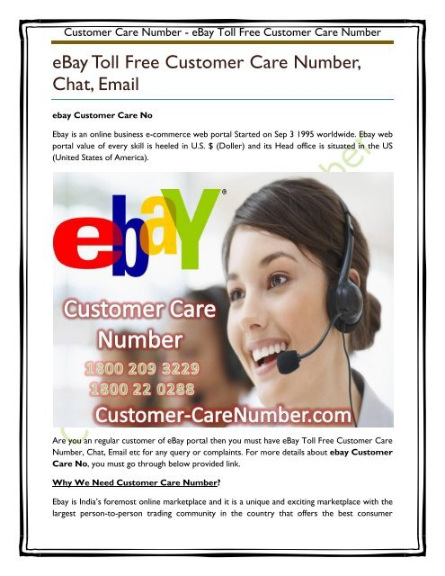 Ebay Toll Free Customer Care Number