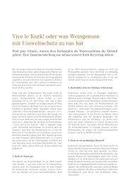 Vive le Kork! oder was Weingenuss mit Umweltschutz zu tun hat