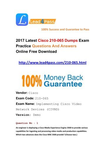2017 Latest Cisco 210-065 Dumps PDF Files Download