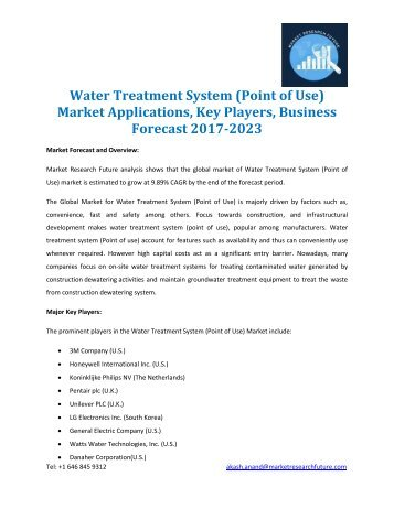 Water Treatment System Point of Use Market
