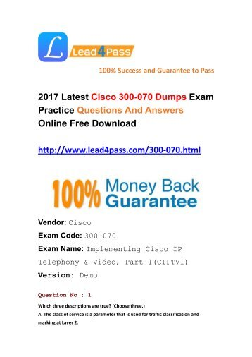 Latest Lead4pass 300-070 Dumps PDF Files Shared