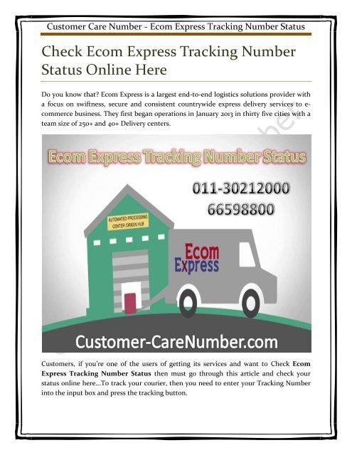 Ecom Express Tracking Number Status