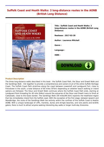 Get Free E-Book Suffolk Coast and Heath Walks  3 long-distance routes in the AONB British Long Distance New Collection