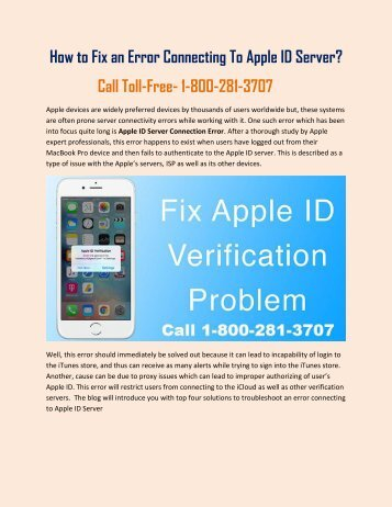 18002813707 Apple Verification Failed- An Error in Connecting to Apple ID Server