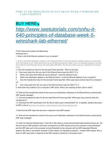 SNHU IT 640 PRINCIPLES OF DATABASE WEEK 5 WIRESHARK LAB ETHERNET