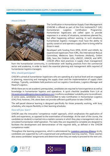 CHSCM Overview - September 2017