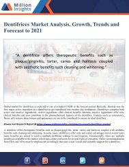 Dentifrices Market Analysis, Growth, Trends and Forecast to 2021