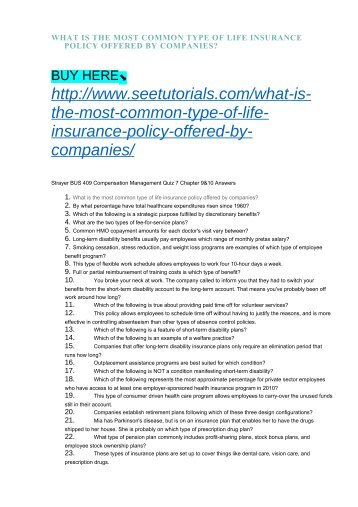 WHAT IS THE MOST COMMON TYPE OF LIFE INSURANCE POLICY OFFERED BY COMPANIES?