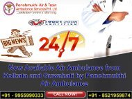 Now Available Air Ambulance from Kolkata and Guwahati by Panchmukhi Air Ambulance
