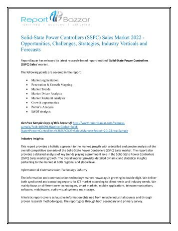 Solid-State Power Controllers (SSPC) Sales Market Size, Share, Analysis, Industry Demand and Forecasts Report to 2017