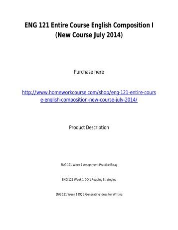 ENG 121 Entire Course English Composition I _New Course July 2014_