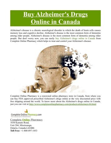 Buy Alzheimer's Drugs Online in Canada