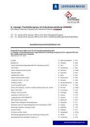 Ausstellerverz. inkl. Standnr - Leipziger Tierärztekongress