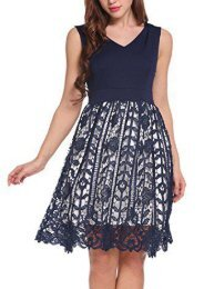 Meaneor Women s Sleeveless V-Neck Floral Lace Patchwork Cocktail Party Dress