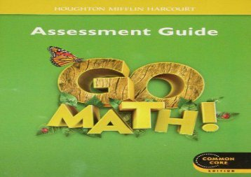 Go Math! Assessment Guide, Grade 1, Common Core Edition