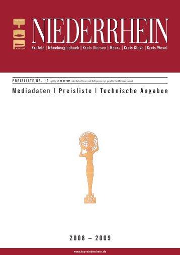 Mediadaten | Preisliste | Technische Angaben 2008 – 2009