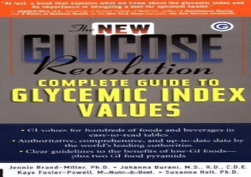 The New Glucose Revolution Complete Guide to Glycemic Index Values