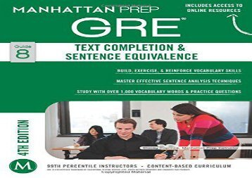 GRE Text Completion   Sentence Equivalence (Manhattan Prep GRE Strategy Guides)