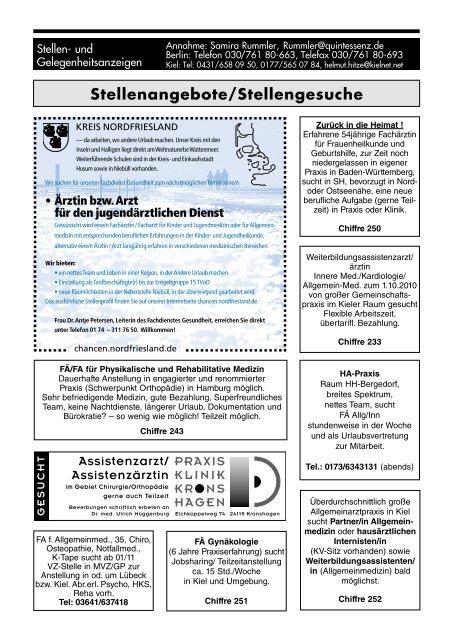 Stellenangebotestellengesuche Schleswig Holsteinisches ärzteblatt