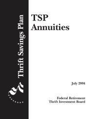 Additional Thrift Savings Plan Information