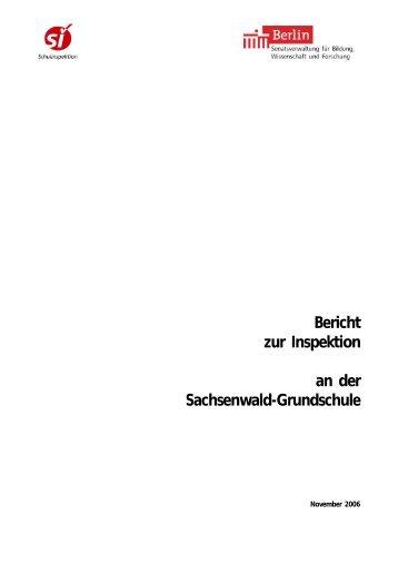 1 Bericht zur Inspektion an der  Sachsenwald-Grundschule