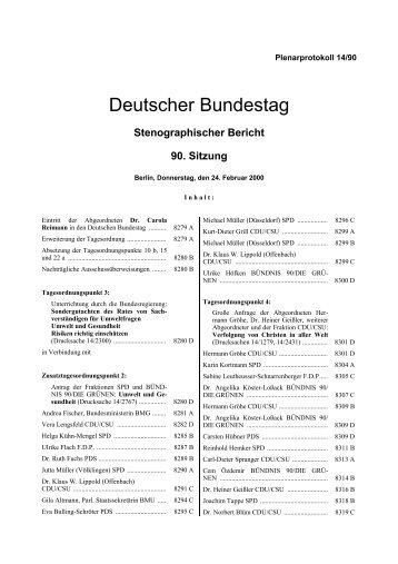 Stenographischer Bericht 90. Sitzung - Deutscher Bundestag