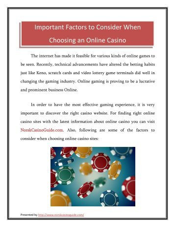 Important Factors to Consider When Choosing an Online Casino