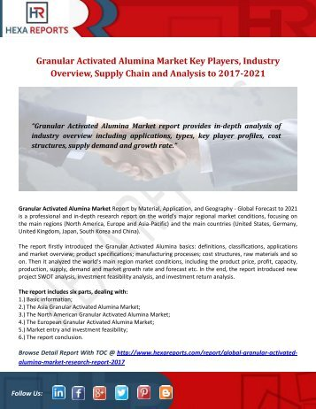 Granular Activated Alumina Market Key Players, Industry Overview, Supply Chain and Analysis to 2017-2021