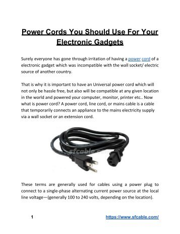 Power Cords You Should Use For Your Electronic Gadgets