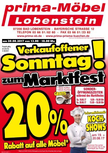 Verkaufsoffener Sonntag zum Allgäuer Marktfest - Sous-Vide Kochshow bei Prima Möbel in 07356 Bad Lobenstein