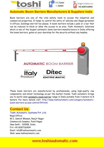 Automatic Boom Barriers India - Toshi Automatic