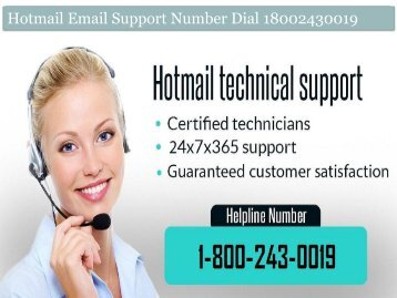 Hotmail Email Support Number Dial 18002430019
